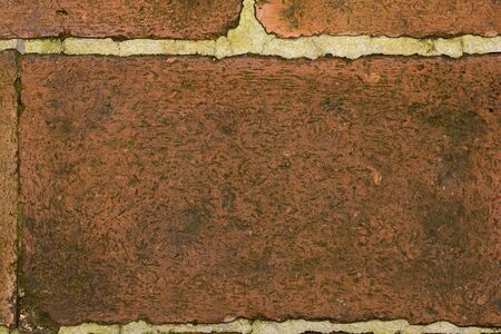 background and texture of baked clay brick  on old floor surface