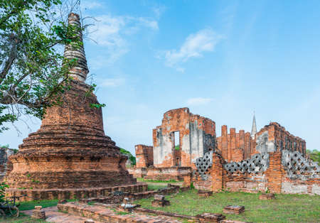 Old Temple Architecture , Wat PhraSriSanphet at Ayutthaya province, Thailand, World Heritage Site Editorial