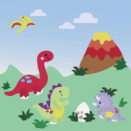 Dinosaurs and ecosystems millions of years old. Vectores