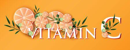 logo Orange fruit Vitamin c Serum Moisture Skin Care Cosmetic.
