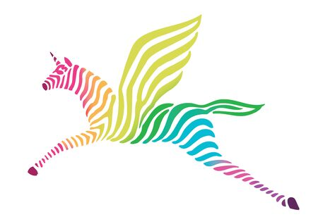 magic unicorn rainbow LGBTQ stripes logo design