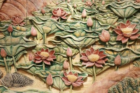 Carved stone lotus
