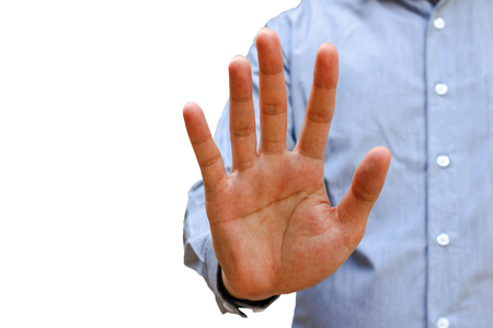 Businessman gesturing alt or stop with hand, isolated on white background,