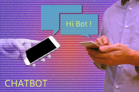 bot: Chat bot and future marketing concept, Man holding smart phone chatting with robot hands communicate with automatic message and binary coded abstract background