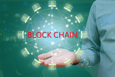 Blockchain network against double exposure concept. businessman show on hand, Block chain text and distributed connection with abstract background