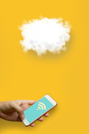 sever: Cloud computing technology concept, Man holding smart phone and using wifi with connect network.