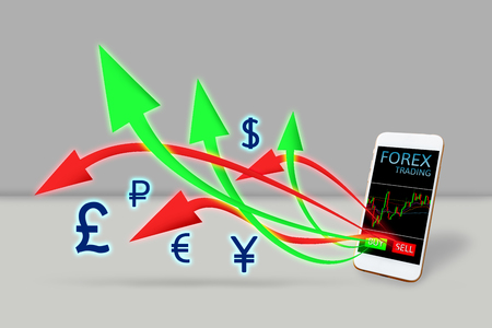 Forex trading concept. arrow buy and sell out of mobile phone. Stock Photo