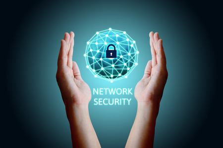 Cyber security network concept, Young asian man holding global network security. Standard-Bild
