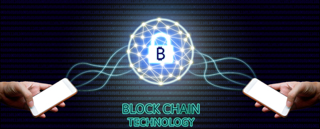Blockchain technology concept, Two businessman holding smartphone and virtual system diagram bitcoin protection and binary background. Standard-Bild