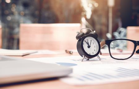 Clock on desk office room.