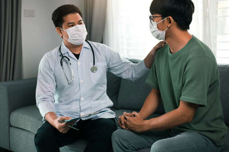 Doctor visit patients at home and follow-up the results treatment while providing confidence to patients at home during the outbreak of a new strain of coronavirus.