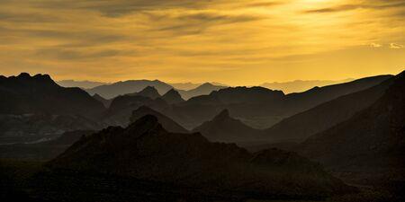 Hazy, Jagged mountains near Lake Mead on Nevada side