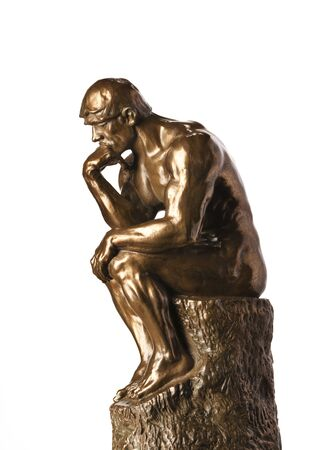Rodin's Thinker - Statue isolated on white