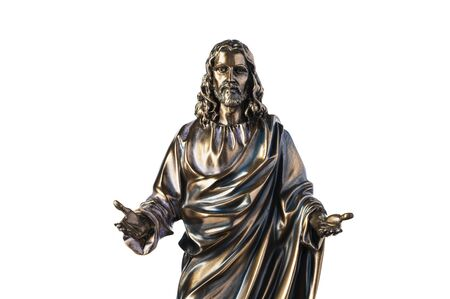 A bronze statue of a Jesus Christ isolated on white