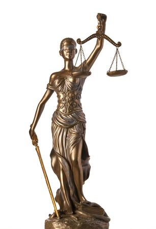 Bronze Themis statue - symbol of Justice - isolated on white