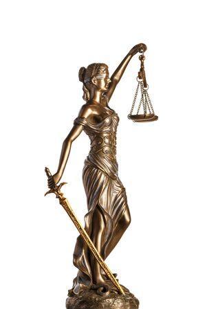 Bronze Themis statue - symbol of Justice - isolated on white Foto de archivo