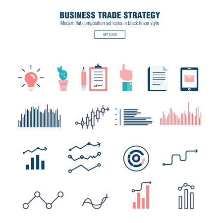 ine: Modern block line flat business trade strategy with  information and mobile technologies graph icons and computers industry Illustration