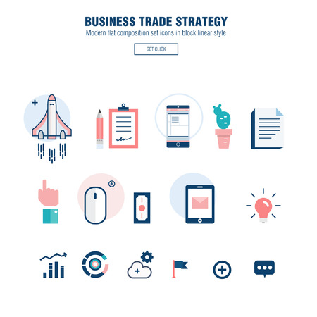cocaine: Modern block line flat business trade strategy with  information and mobile technologies graph icons and computers industry Illustration