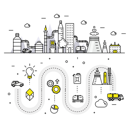 power station: Modern petrol industry thin block line flat icons and composition with gas station technology  and development gasoline program Illustration
