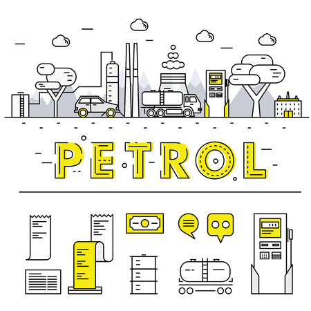 gas industry: Modern petrol industry thin block line flat icons and composition with gas station technology  and development gasoline program Illustration