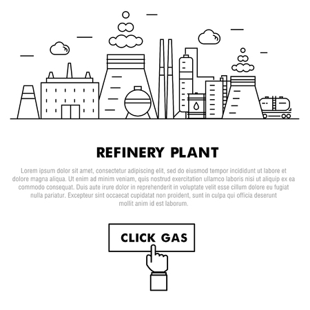 power station: Modern petrol industry thin block line flat icons and composition with gas station technology  and development gasoline program in black and white style