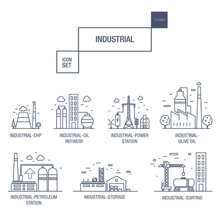 duża ikona przemysłu wyznaczały gazem elementów, oliwka, czysty, wieża wodna, kolej, lotniska, sortowanie, żwiru w realistycznym stylu cienkiego liniowego