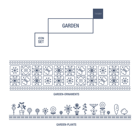 modern garden: Modern thin line garden isolated flower icon set and premium quality decorate ornaments pack