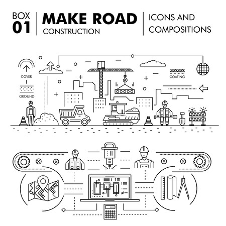 road construction: Modern compositions building road construction thin line block flat icons and concept development strategy graph and idea concept architecture information