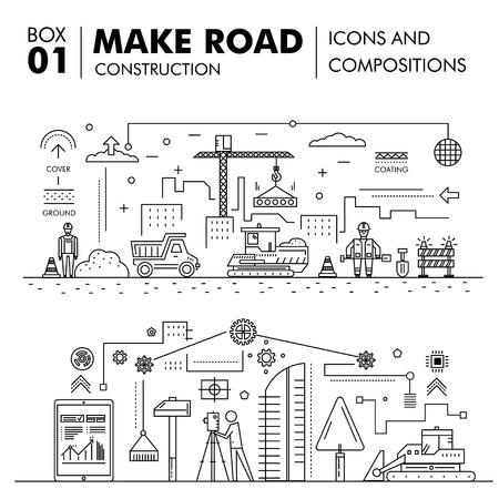 Moderne Kompositionen Bau Straßenbau dünne Linie Block flache Ikonen und Konzeptentwicklung Strategie Graph und die Idee Konzept Architekturinformationen
