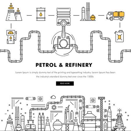 Nowoczesne benzyna przemysłu cienka linia bloku płaskie kolorowe ikony i skład z technologią stacji benzynowej i rozwoju programu benzyny