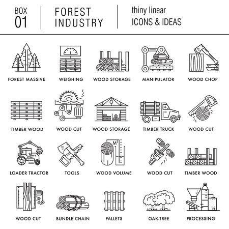 La industria forestal en los iconos de estilo moderno lineales con diversos sectores, hojas, árboles, paletas, maquinaria, máquinas herramientas, almacenamiento, herramientas y otros. estilo realista con las mejores ideas modernas