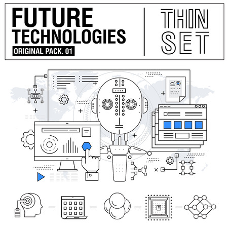 New modern thin line icons set technology of future and original future device. high quality Pack with linear vector pictogram collection. Really big stroke compositions. Flat icon in slim style.