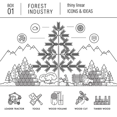 lumber: The forest industry in the modern linear style icons with various sectors, leaves, trees, pallets, machinery, machine tools, storage, tools and others. Realistic style with the best modern ideas