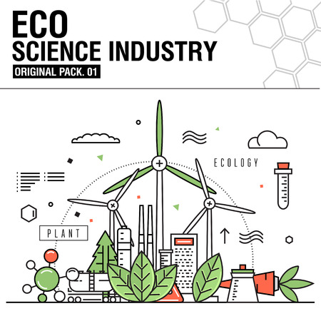 environmental analysis: Ecology science icons.Modern eco elements set collection with global industry.Stroke  vector pictogram for web design. Premium quality outline symbol human, leaves, test-tube,  tree, windmill, formula.