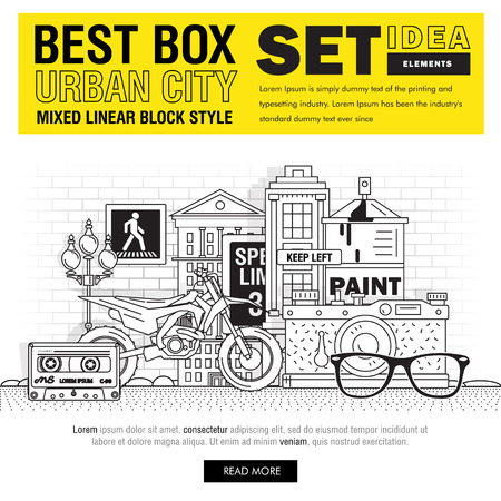 loft: Modern best box urban city elements include set ideas and elements in mixed thin linear style. Icons as objects urbanistic culture, create, sneakers, bike, buildings, player, photocamera, loft space.