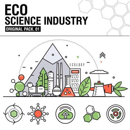 environmental analysis: Modern eco science industry. Thin line icons set eco technology. Ecology science set collection with global industry elements. Premium quality outline symbol. Stroke vector pictogram for web design.
