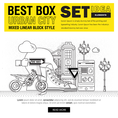 urban culture: Modern best box urban city elements include set ideas and elements in mixed thin linear style. Icons as objects urbanistic culture, create, sneakers, bike, buildings, player, photocamera, loft space.