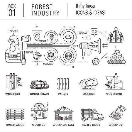 sectors: The forest industry in the modern linear style icons with various sectors, leaves, trees, pallets, machinery, machine tools, storage, tools and others. Realistic style with the best modern ideas