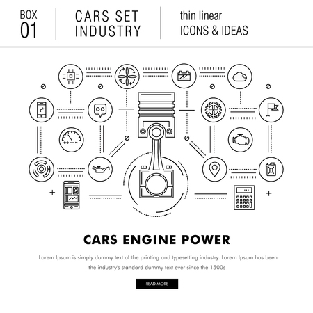 futurist: Thin line car industry in modern style with various car model, real good futurist compositions, auto service, car development in travel, sport and production sector, with mechanical elements on white background Illustration