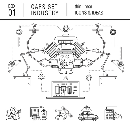 automotive industry: Thin line car industry in modern style with various car model, real good futurist compositions, auto service, car development in travel, sport and production sector, with mechanical elements on white background Illustration