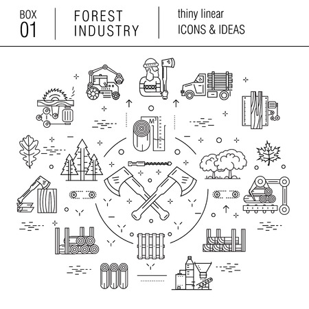 machine tools: The forest industry in the modern linear style icons with various sectors, leaves, trees, pallets, machinery, machine tools, storage, tools and others. Realistic style with the best modern ideas