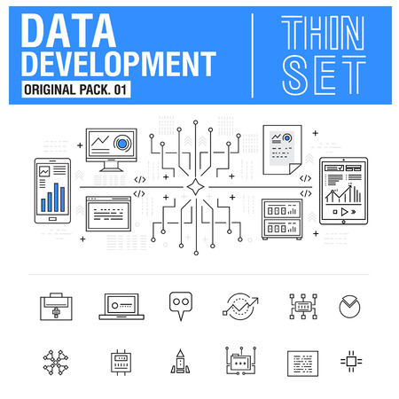 metadata: New modern thin line icons set development data analysis and metadata operations. Original Pack with linear pictogram collection include compositions of future for web design. Flat icon in slim style.