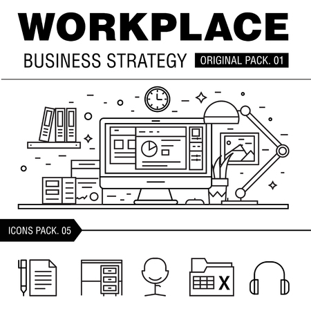 documentation: Modern workplace business strategy. Thin line icons set of office space. Desktop work set collection with technology interior elements. Premium quality vector symbol. Stroke pictogram for web design.