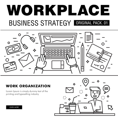documentation: Modern workplace business strategy. Thin line icons set of office space. Desktop work set collection with technology interior elements. Illustration