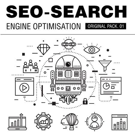 optimisation: Modern seo development pack. Thin line icons optimization technology. Analytics internet collection future infographics industry elements. Illustration