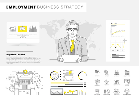 Business employment big Modern set layouts. Thin icons of manage. Team work strategy. Original pack with linear pictogram collection. Professional model coaching.Smart office element for web design.