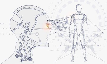 Innovations systems connecting people and robots devices. Future technologies in automatics cyborg systems and computers industry from awesome internet developments. Geometry style with linear pictogram