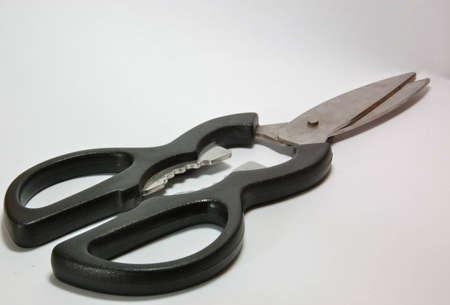 Black handled scissors isolated on white background Stock Photo