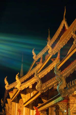 The light spectrum to the buddhist church roof
