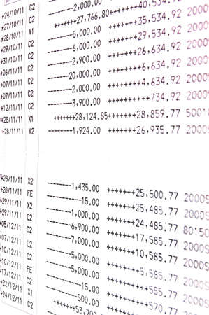 The copy of book bank statement record Stock Photo